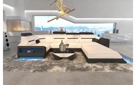 Designer Sofa AVATAR XL mit LED Beleuchtung & USB Anschluss (Weiss / Schwarz) AB LAGER