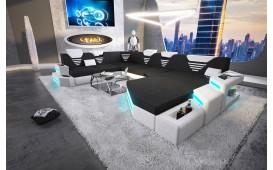 Designer Sofa NEMESIS XXL mit LED Beleuchtung & USB Anschluss (Schwarz/Weiss) AB LAGER-NATIVO™ Designer Möbel Österreich