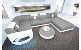 Designer Sofa ATLANTIS XL mit LED Beleuchtung & USB Anschluss (Grau/Weiss) AB LAGER-NATIVO™ Designer Möbel Österreich
