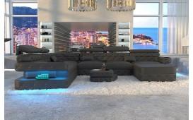 Designer Sofa EXODUS XXL mit LED Beleuchtung & USB Anschluss (Schwarz) AB LAGER-NATIVO™ Designer Möbel Österreich