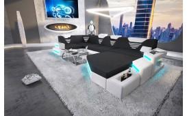 Designer Sofa NEMESIS XL mit LED Beleuchtung & USB Anschluss (Schwarz/Weiss) AB LAGER-NATIVO™ Designer Möbel Österreich