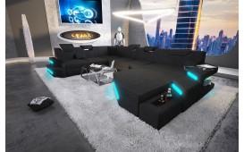 Designer Sofa NEMESIS XXL mit LED Beleuchtung & USB Anschluss (Schwarz) AB LAGER-NATIVO™ Designer Möbel Österreich