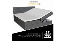 Boxspringbett TITAN in Leder inkl. Topper & Bettkasten by ©iconX STUDIOS
