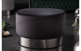 Designer Sitzhocker ROCCO BLACK SILVER 55 cm