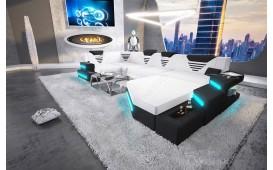 Designer Sofa NEMESIS XL mit LED Beleuchtung & USB Anschluss (Weiss/Schwarz) AB LAGER NATIVO™ Möbel Österreich