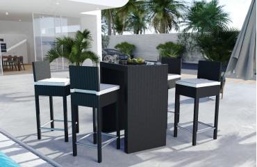 Rattan Lounge CARSON Bartischsatz (5tlg.) v2-NATIVO™️ Designer Möbel Österreich