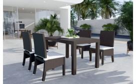 Rattan Lounge VICITA Esstischsatz (7tlg.) v2
