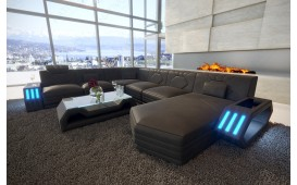 Designer Sofa CLERMONT XXL mit LED Beleuchtung (Schwarz/Schwarz) AB LAGER-NATIVO™️ Designer Möbel Österreich
