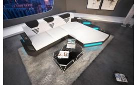 Designer Sofa NEMESIS MINI mit LED Beleuchtung & USB Anschluss (Weiss/Schwarz) AB LAGER