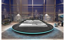 Designer Lederbett MARS inkl. LED Beleuchtung & USB Anschluss (Schwarz) AB LAGER