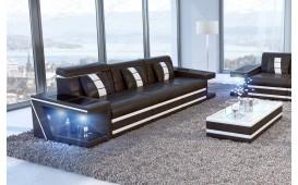 3 Sitzer Sofa CAREZZA mit LED Beleuchtung (Schwarz/Weiss) AB LAGER - NATIVO Möbel Oesterreich