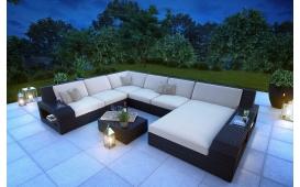 XXL Designer Rattan Lounge Sofa RONALD mit LED Licht
