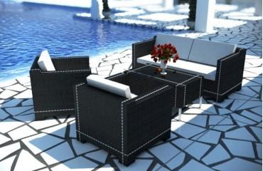 Rattan Lounge MEMFIS Gartenset (4.tlg.) - Rattan schwarz - weisse Sitzkissen - weisse Streifen