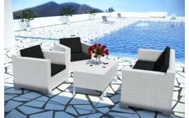 Rattan Lounge MEMFIS Garten Lounge und Couchtisch (4.tlg.) - Rattan weiss - schwarze Sitzkissen