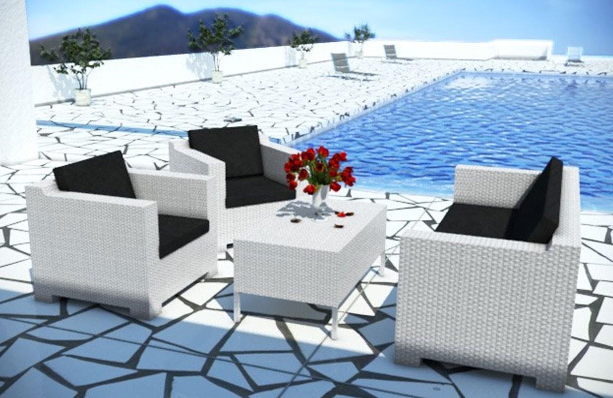 Gartenlounge rattan weiss  Rattan Lounge MEMFIS Gartenset (4.tlg.) v2 von NATIVO Möbel