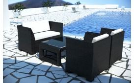 Rattan Lounge Garten Set CHICO Loungeset- 4-teilig - schwarz inkl.Kissen - Polyrattan