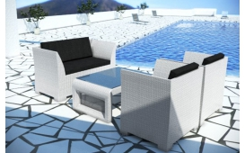 Rattan Lounge CHICO Loungeset- 4-teilig - weiss inkl.Kissen - Polyrattan