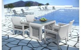 Rattan Lounge Gartenset LUNA Essgruppe- Tisch und vier Sessel- weiss - Polyrattan