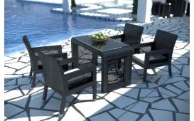 Rattan Lounge LUNA Essgruppe- Tisch und vier Sessel- schwarz - Polyrattan