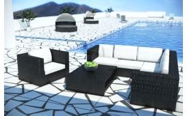 Rattan Lounge BARCELONA Eckcouch und Couchtisch - Polyrattan schwarz - weisse Sitzkissen