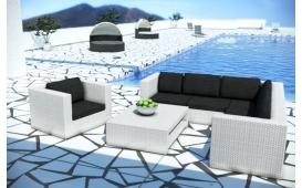 Rattan Lounge BARCELONA Eckcouch und Couchtisch - Polyrattan weiss - schwarze Sitzkissen