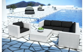 Rattan Lounge BARCELONA Eckcouch und Couchtisch v2