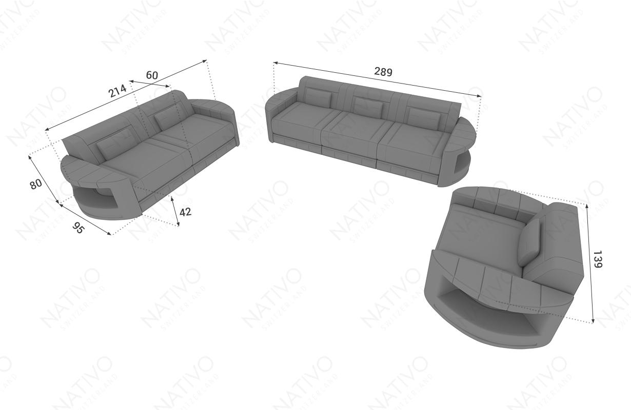 Dimensionen 3 Sitzer Sofa ATLANTIS mit LED Beleuchtung