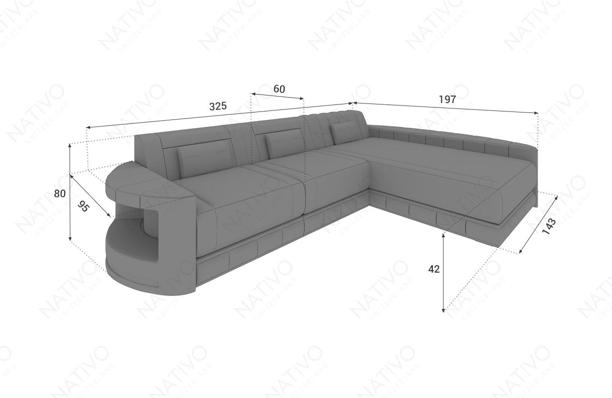 Dimensionen Designer Sofa ATLANTIS MINI mit LED Beleuchtung