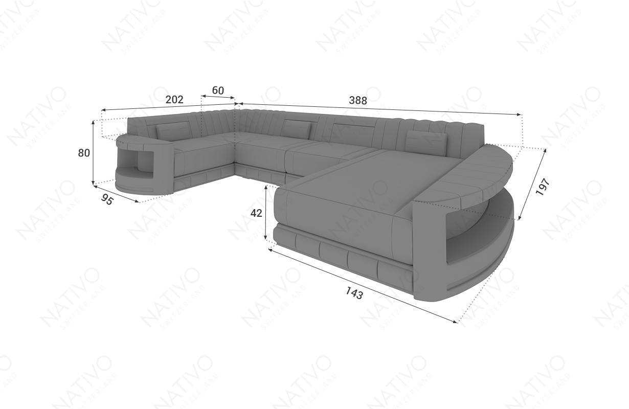 Dimensionen Designer Sofa ATLANTIS XL mit LED Beleuchtung