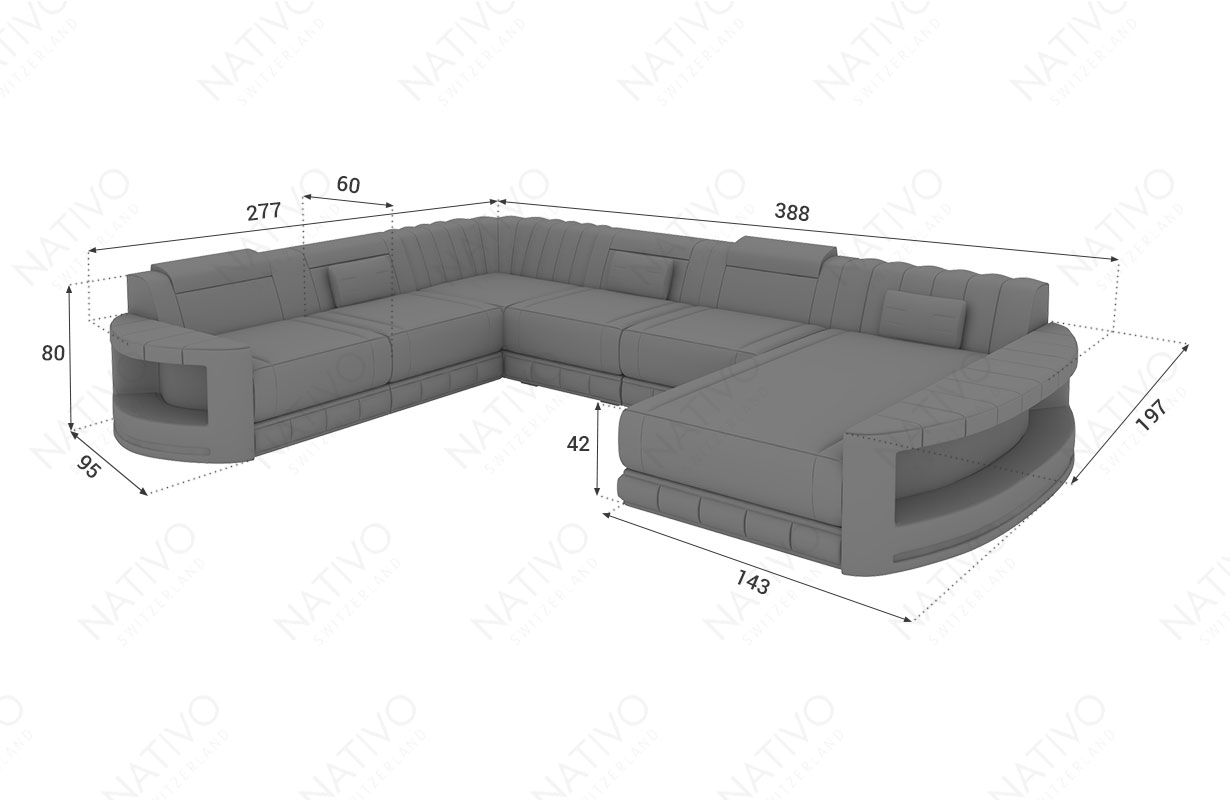 Dimensionen Designer Sofa ATLANTIS XXL mit LED Beleuchtung