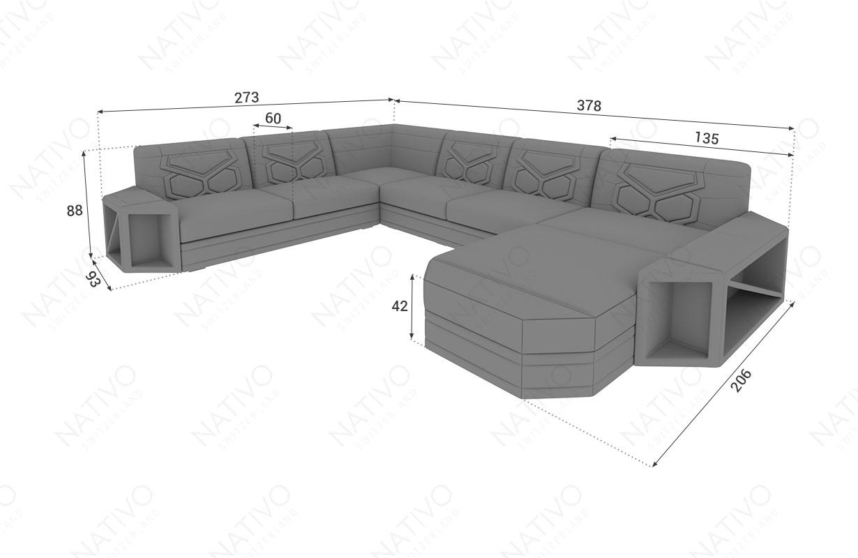 Dimensionen Designer Sofa AVENTADOR XXL mit LED Beleuchtung