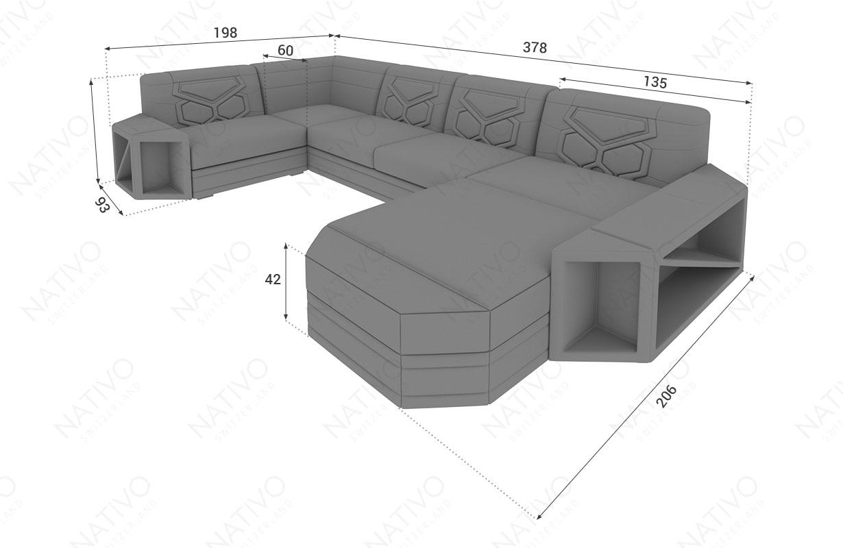 Dimensionen Designer Sofa AVENTADOR XL mit LED Beleuchtung