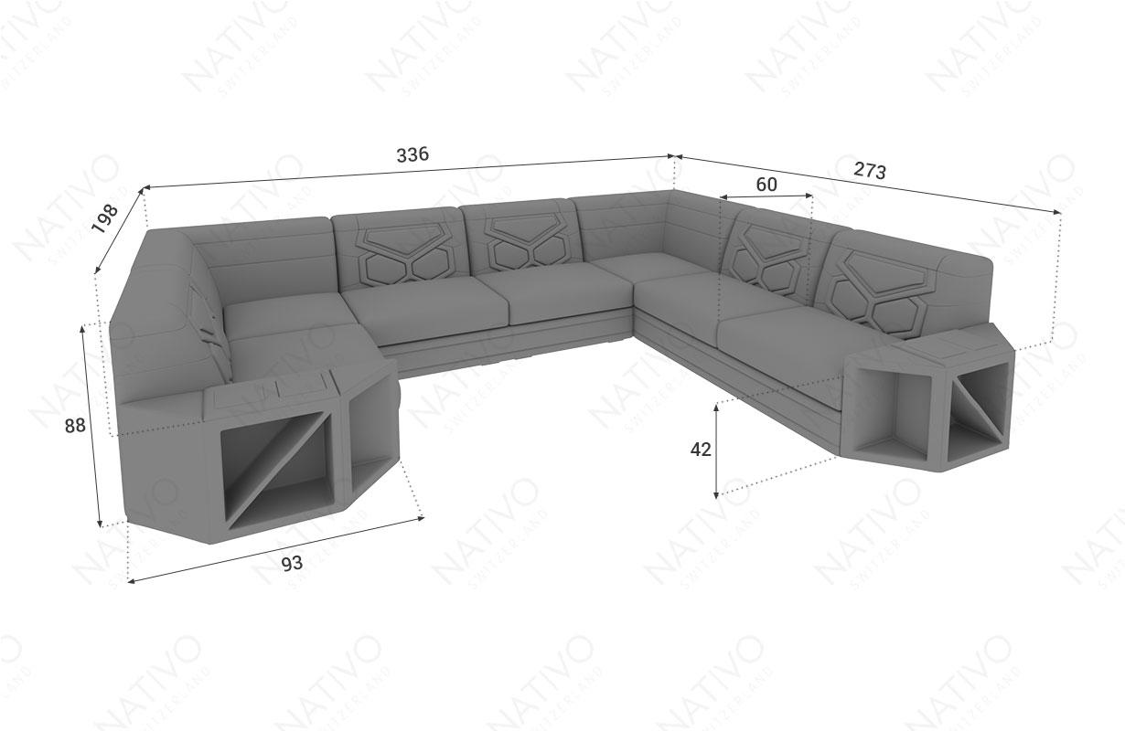 Dimensionen Designer Sofa AVENTADOR CORNER XL mit LED Beleuchtung
