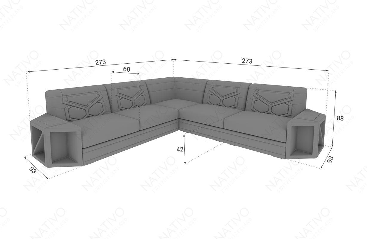 Dimensionen Designer Sofa AVENTADOR CORNER mit LED Beleuchtung