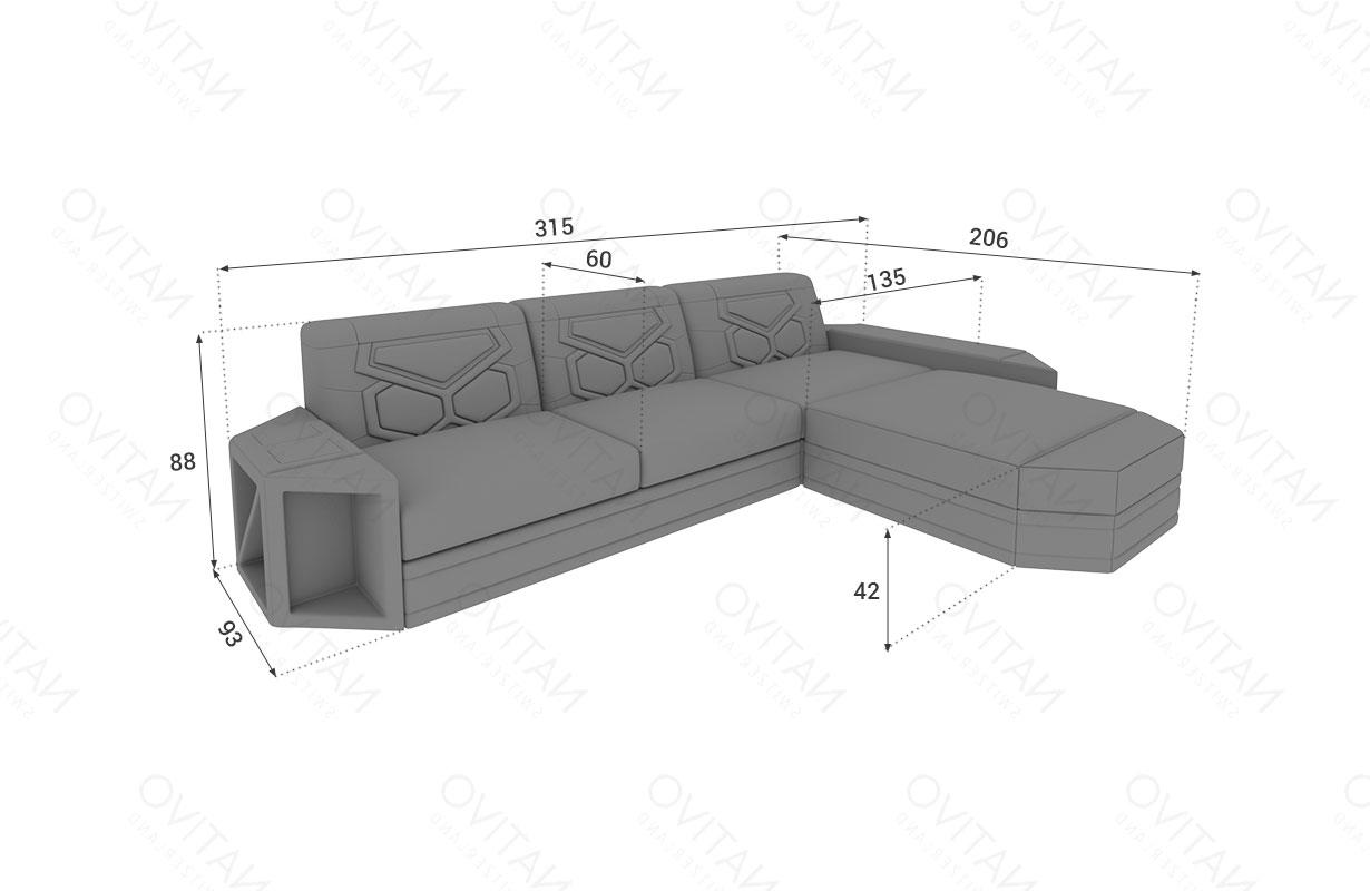 Dimensionen Designer Sofa AVENTADOR MINI mit LED Beleuchtung