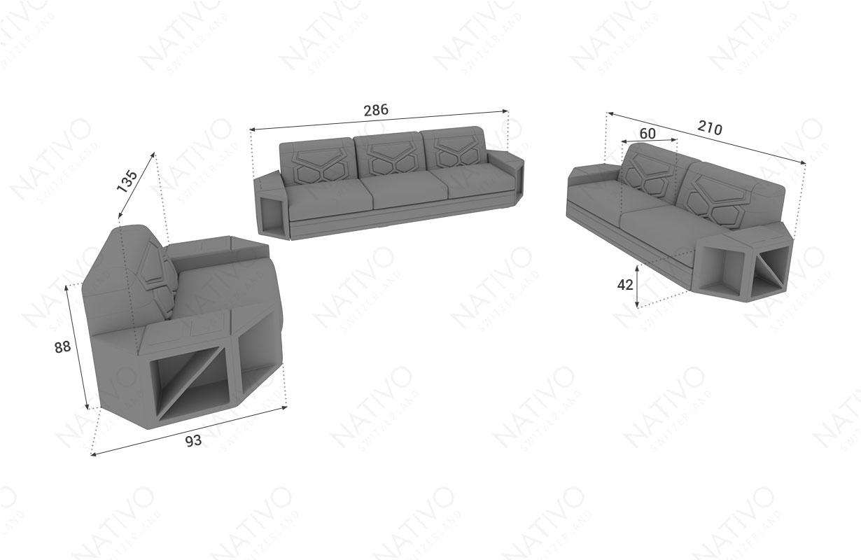 Dimensionen Designer Sofa AVENTADOR 3+2+1 mit LED Beleuchtung