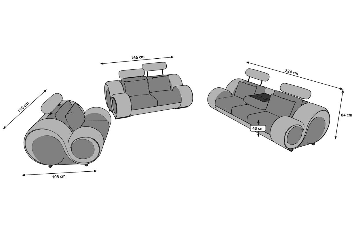 Dimensionen Sofa Garnitur BARACUDA 3+2+1 inkl. Relax-Funktion