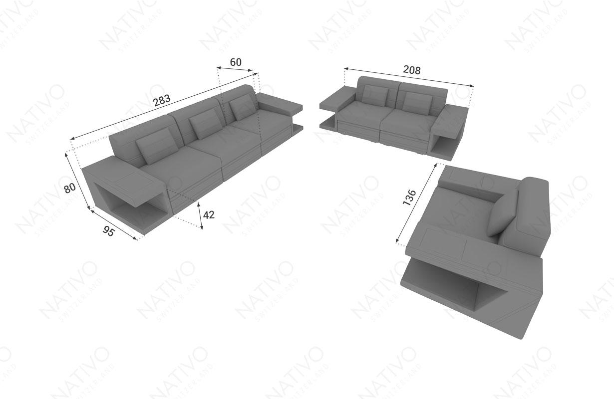 Dimensionen Designer Sofa CAREZZA 3+2+1 mit LED Beleuchtung