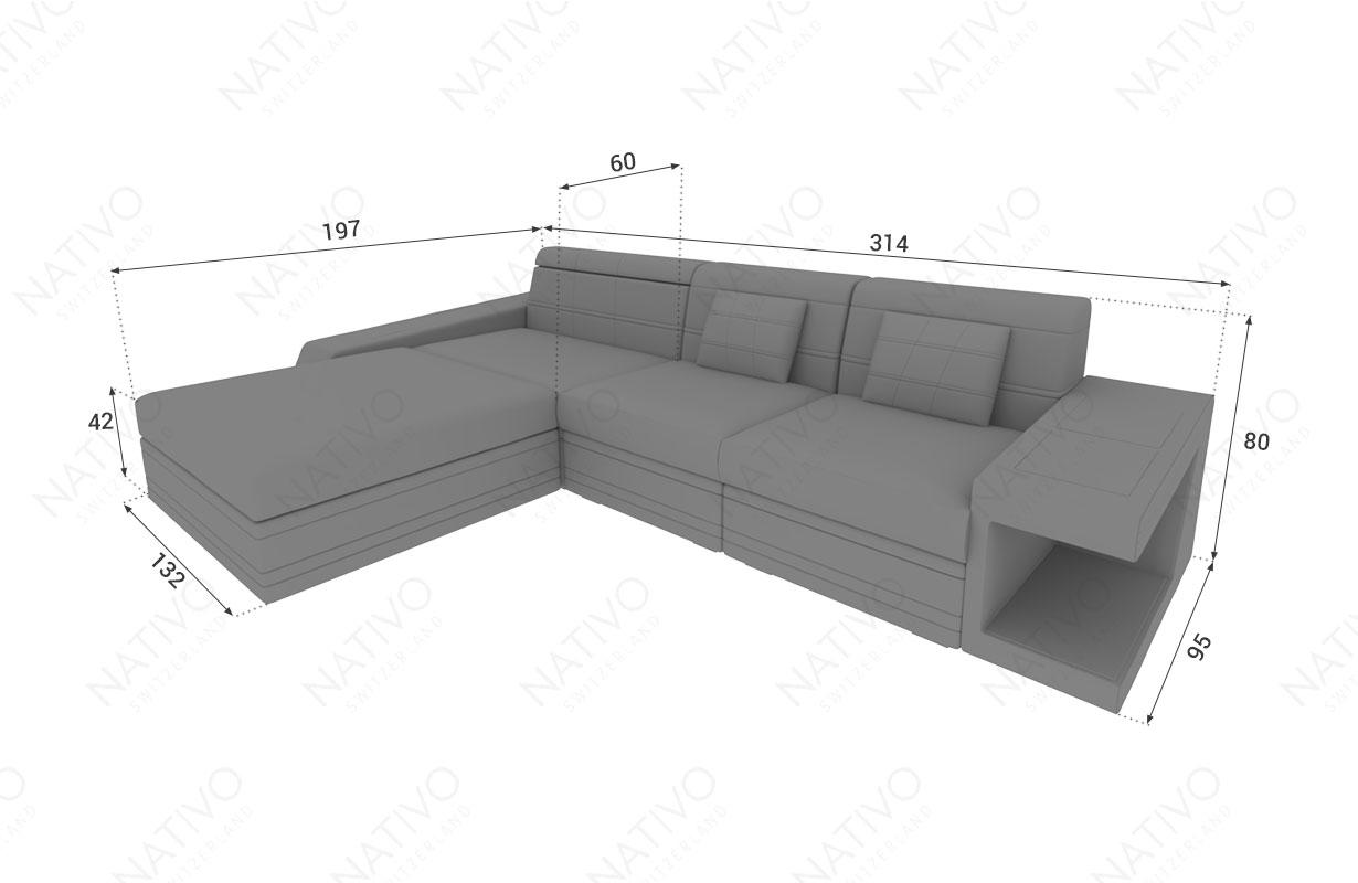 Dimensionen Designer Sofa CAREZZA MINI mit LED Beleuchtung
