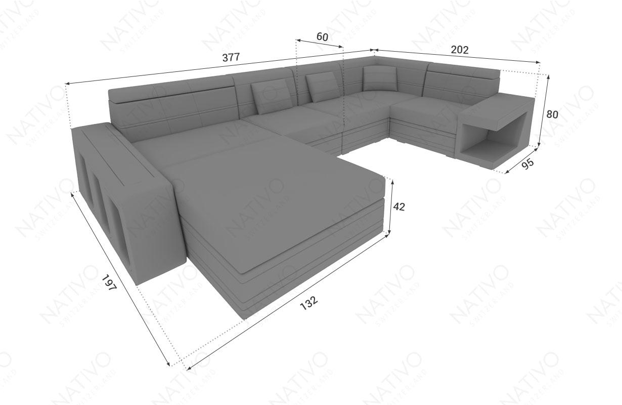 Dimensionen Designer Sofa CAREZZA XL mit LED Beleuchtung