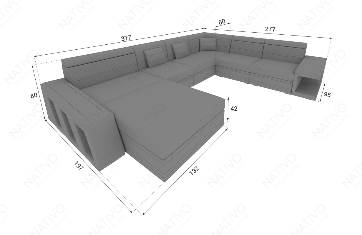 Dimensionen Designer Sofa CAREZZA XXL mit LED Beleuchtung