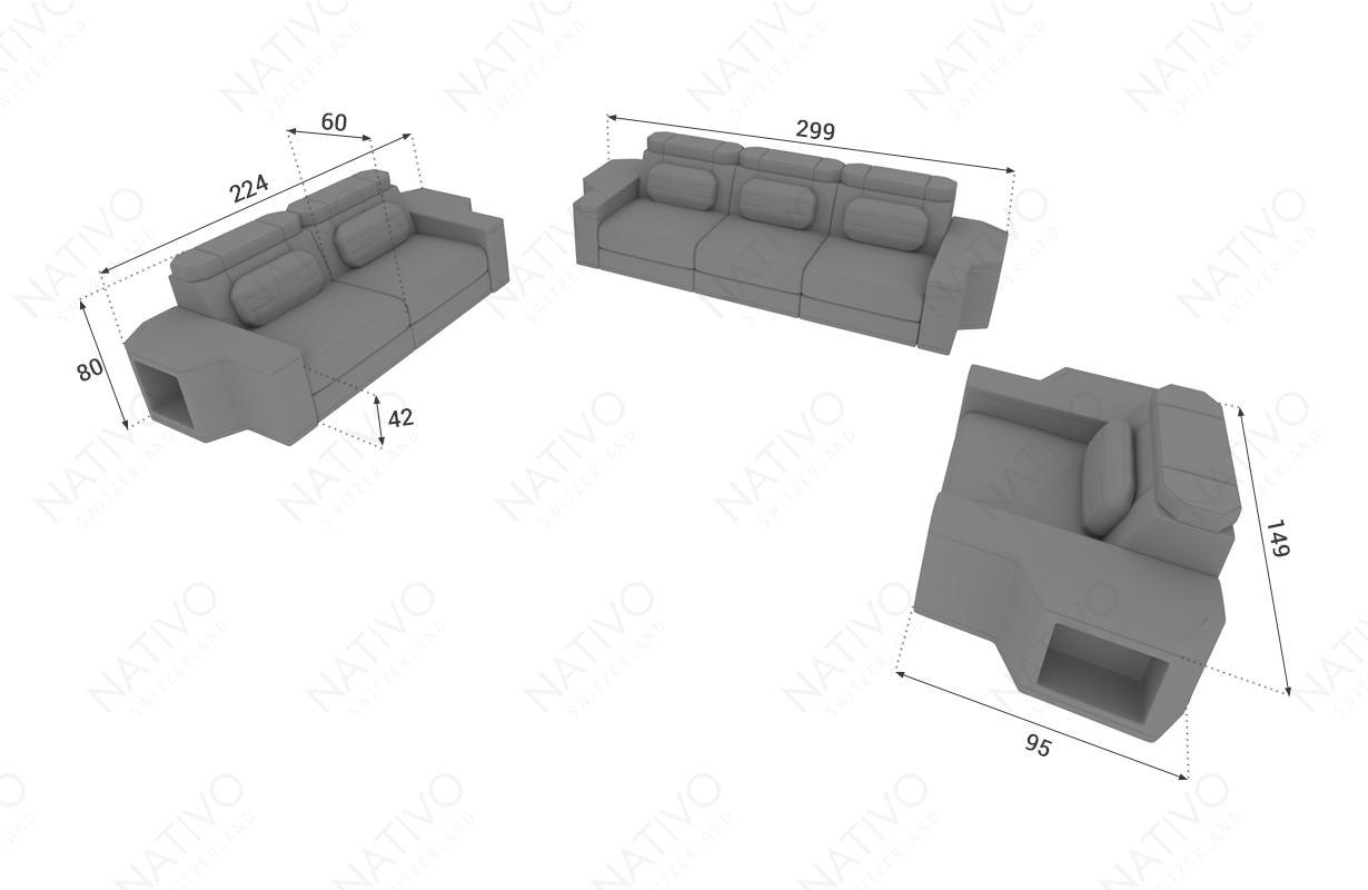 Dimensionen Designer Sofa CESARO 3+2+1 mit LED Beleuchtung