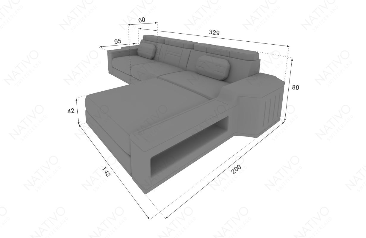 Dimensionen Designer Sofa CESARO MINI mit LED Beleuchtung