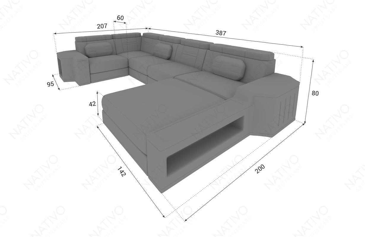 Dimensionen Designer Sofa CESARO XL mit LED Beleuchtung