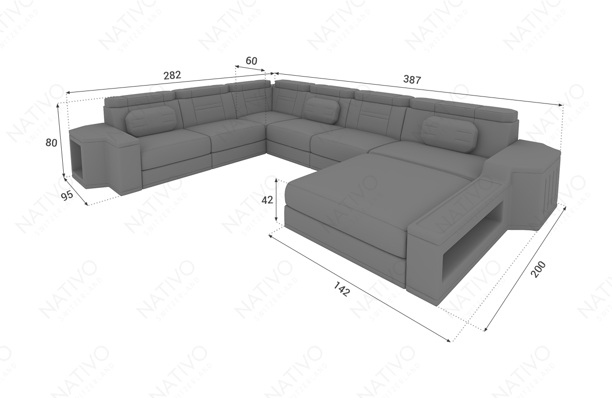 Dimensionen Designer Sofa CESARO XXL mit LED Beleuchtung