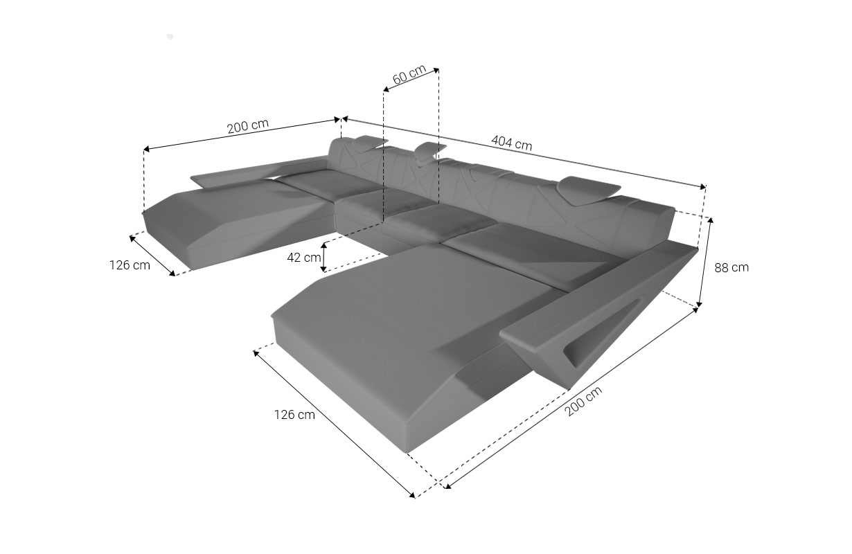 Dimensionen Designer Sofa FALCO XXL DUO mit LED Beleuchtung & USB Anschluss