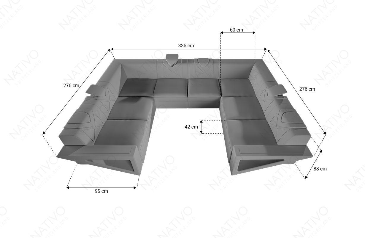 Designer Sofa FALCO CORNER U FORM mit LED Beleuchtung & USB Anschluss K