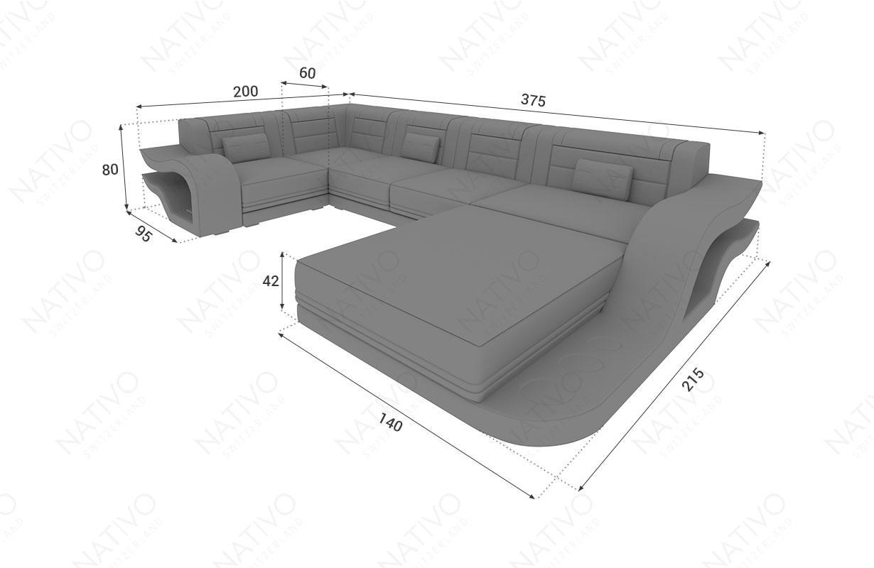 Dimensionen Designer Sofa HERMES XL mit LED Beleuchtung