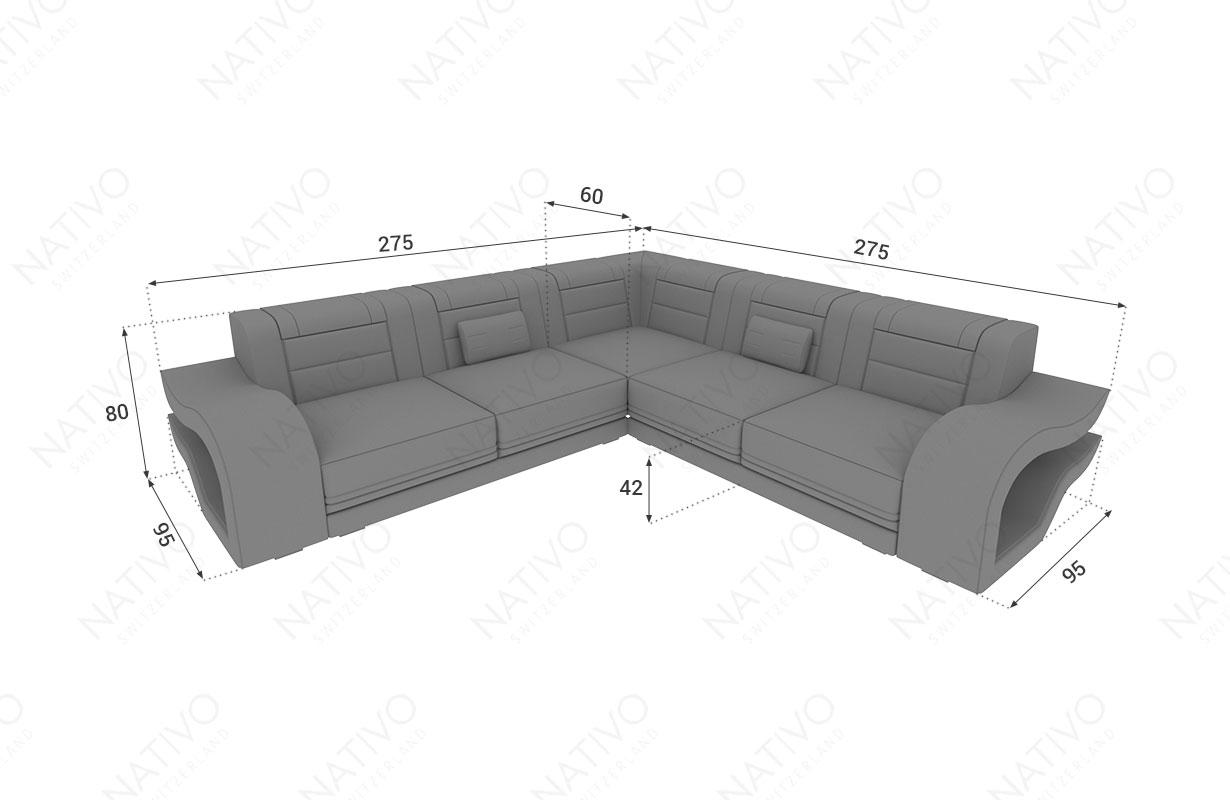 Dimensionen Designer Sofa HERMES CORNER mit LED Beleuchtung