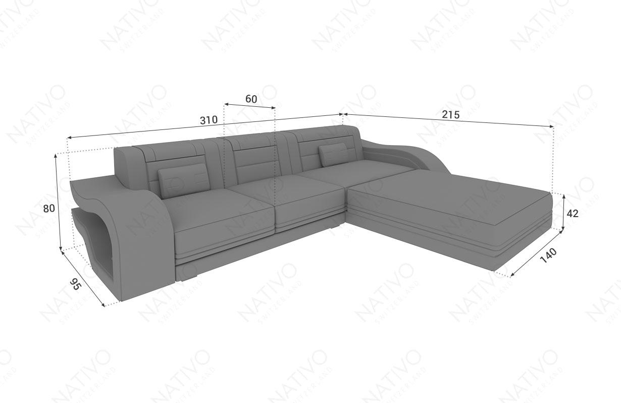 Dimensionen Designer Sofa HERMES MINI mit LED Beleuchtung